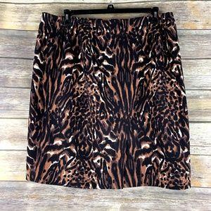 Talbots Woman 16W pencil skirt animal print lined